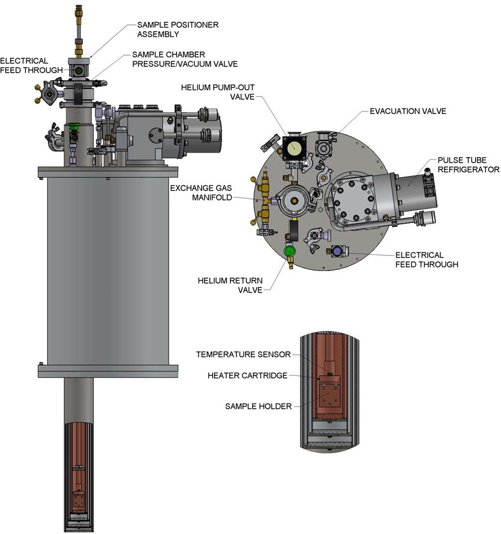 PTSHI-950-LT 1.5 K Continuous CCR Cryostat Mechanical Drawing